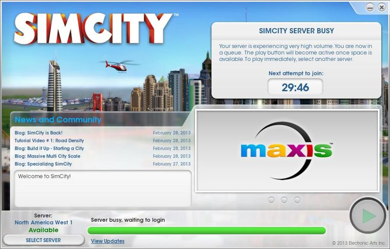 SimCity servers buckle under launch stress
